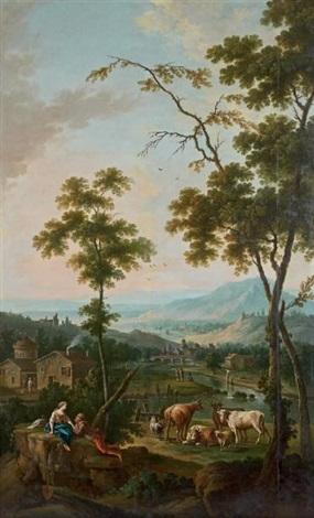 paysage avec un couple de bergers et leur troupeau by jean baptiste charles claudot