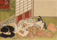 chuban yoko-e, femme succombant au charme d'un vendeur d'éventails, la porte ouverte donnant sur un jardin by isoda koryusai
