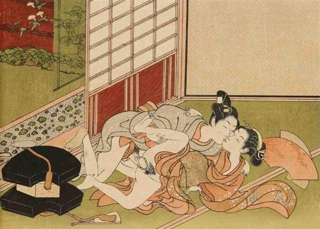 chuban yoko e femme succombant au charme dun vendeur déventails la porte ouverte donnant sur un jardin by isoda koryusai