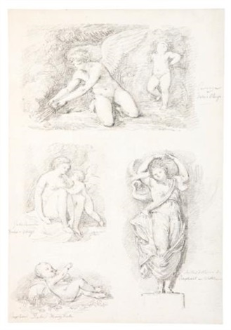 studies after four works by italian artists by jean honoré fragonard