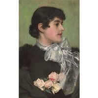 portrait of a woman with tea roses by charles frederick ulrich