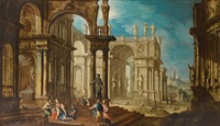 an architectural capriccio with the old testament episode of samson and dalila by pietro francesco garoli