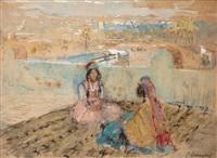deux femmes sur une terrasse by adrien jean le mayeur de merprés