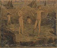 fischende knaben am strand by ludwig von hofmann