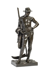 a large bronze figure of the mower by sir william hamo thornycroft