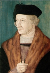 portrait of an architect wearing a black coat with fur collar, holding dividers by hans krell