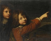 portrait of two young boys, before an open landscape by wallerant vaillant