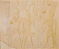 king sesostris between the gods amun and horus-ra by joseph lindon smith