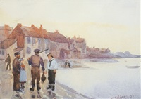 figures by a harbour (+ sea-side village scene, 2 works) by c. henry (harry) spiers