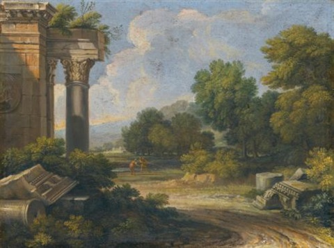 roman landscapes with architectural capricci pair by gaspard dughet