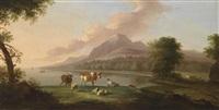 südliche küstenlandschaft mit einem hirten und vieh by jacob de heusch
