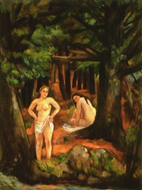bathers in pine woods by bernard karfiol