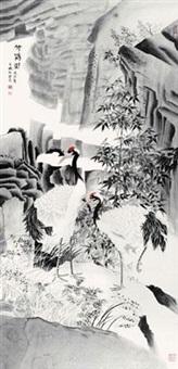 竹鹤图 by mo xiaosong