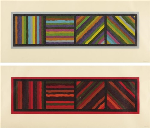 bands (not straight) in four directions (2 works) by sol lewitt