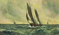 segelboote auf stürmischer see by josef steib