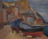 boats in bonifacio by georges artemov
