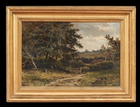 landscape with two girls picking flowers by abraham hulk the younger