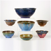 bowls (7 works) by fulper pottery