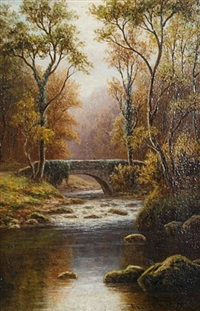 old bridge, bolton woods, yorkshire by everett w. mellor