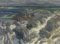 iona, looking across the sea to ben more, isle of mull by john miller