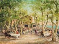 italienischer gastgarten an einem sonnigen frühlingstag by helmut stadelhofer