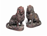 seated lions (pair) by anonymous-french (20)