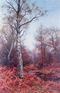 autumnal woodland scene with stag by walter boodle