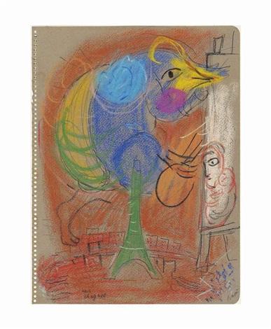 le coq à la tour eiffel by marc chagall