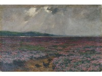 tract of scottish heath land with five grouse in the foreground by john guille millais