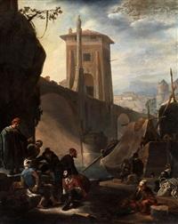 südliche stadtansicht mit flusshafen an einer bogenbrücke mit turm by johannes lingelbach