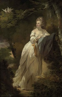 portrait of a lady in a white dress, leaning on a pedestal by a tree with two doves by ozias humphry
