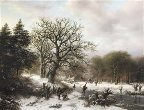a winter landscape with wood gatherers and skaters by barend cornelis koekkoek