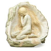 nude female figure in oyster shell by max blondat