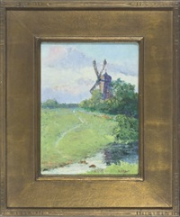 landscape with windmill by henry stephens eddy