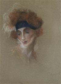 portrait d'élégante by lucien lévy-dhurmer