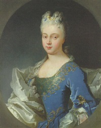 portrait of a lady, half-length in a blue dress embroidered with gold by nicolas fouche