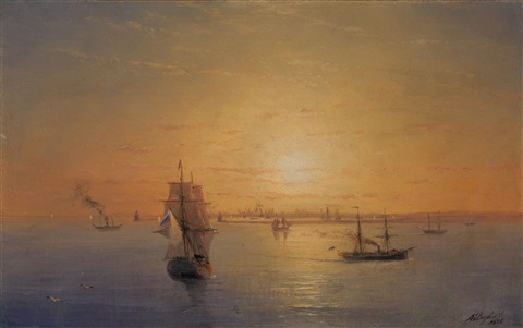 russian fleet at sunset by ivan konstantinovich aivazovsky