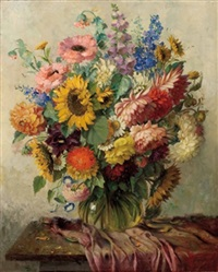 stillleben mit gartenblumen by otto vaeltl