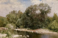 river on a sunny day by andrei nikolaevich shilder