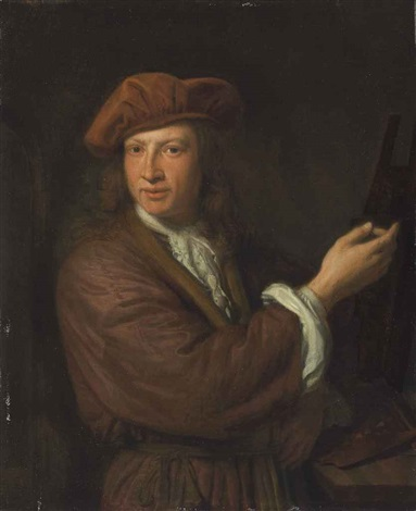self portrait of the artist at his easel by pieter cornelisz van slingeland