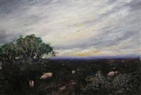 shepherd and sheep in a landscape, sheep in a nocturnal landscape by henry eason davies