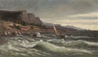 sailing boats in a stormy sea offshore by mikhail alisov