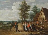 landschaft mit einem musikanten, dem einige frauen folgen by thomas van apshoven
