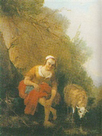 shepherdess at a stream by james de rijk