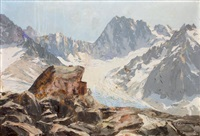 refuge du couvercle et grandes jorasses by charles henry contencin