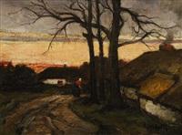 femme traversant un hameau by jacobs (jakob) smits