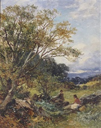 rustics at rest by a stone wall by david bates