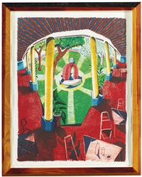 views of hotel well iii (from moving focus) by david hockney