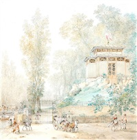 vue animée du pavillon de la grille du ponceau, château de neuilly by pierre françois léonard fontaine