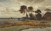 a farm along a waterway in autumn by paul joseph constantin gabriël